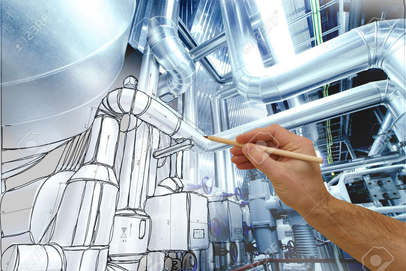 man's hand draws a design of factory combined with photo of modern industrial power plant - 54297676
