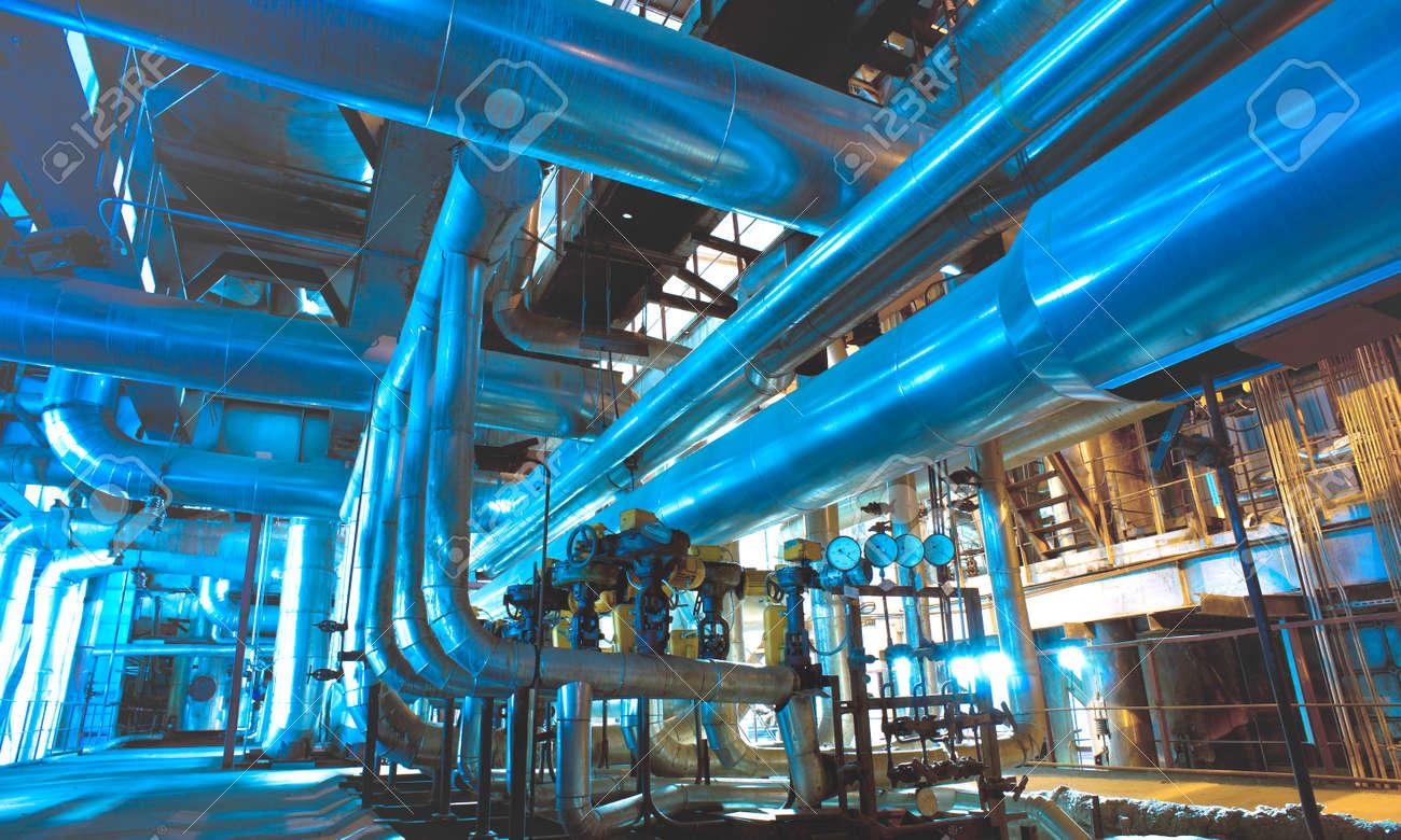 Industrial zone, Steel pipelines, valves and ladders - 167557264