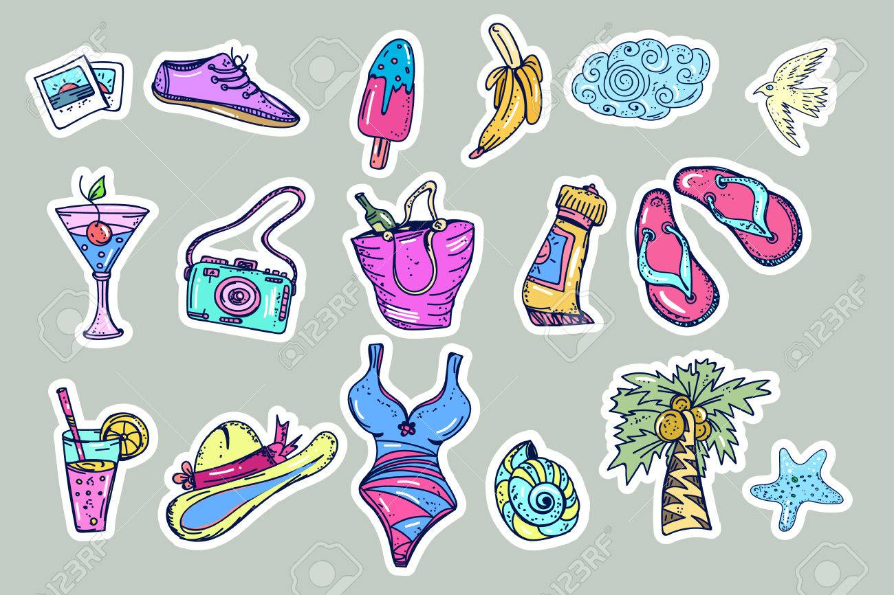 Summer beach fashion stickers comic style of 80s-90s  Tropical