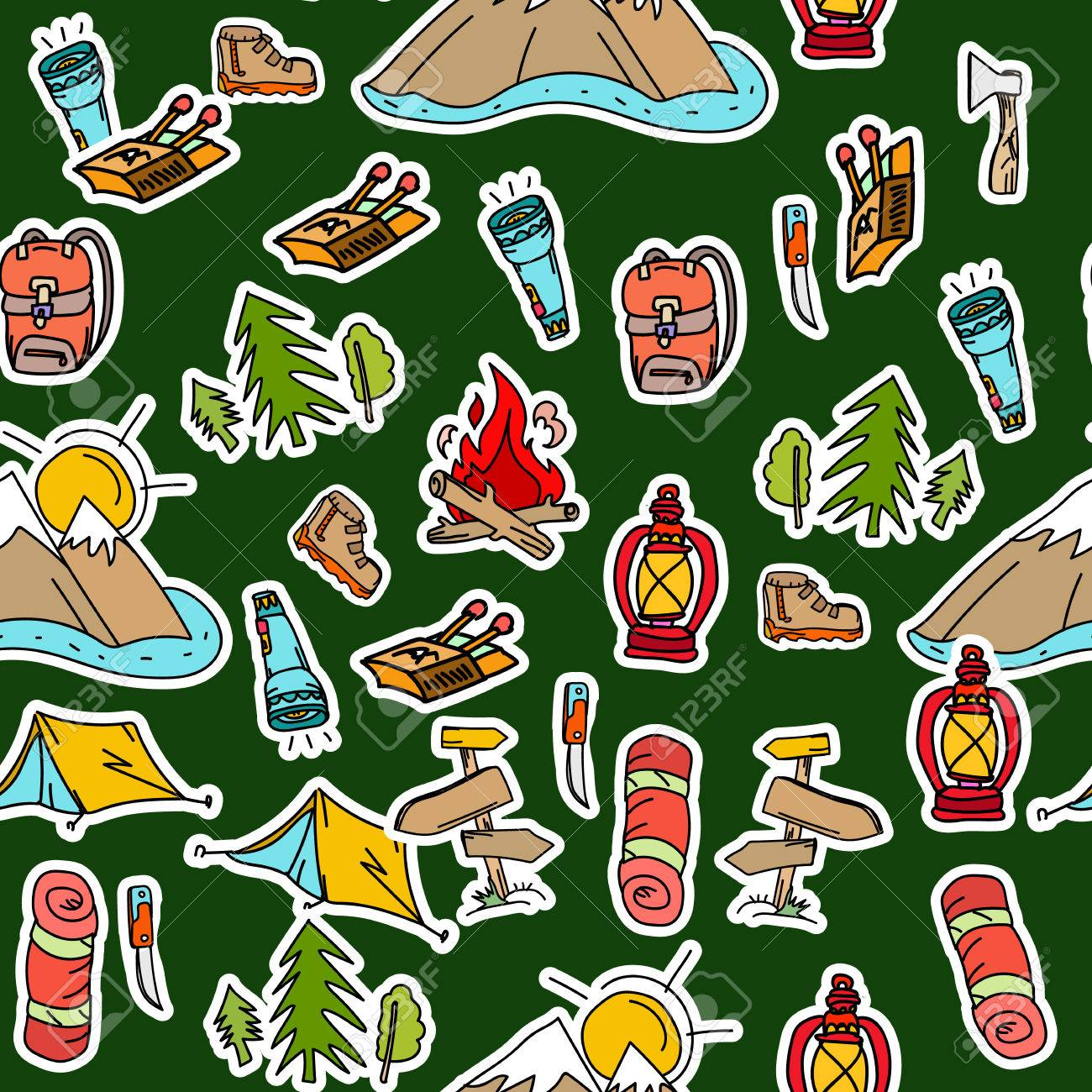 Camping stickers pop art seamless pattern tourism equipment symbols and icons pattern mountains