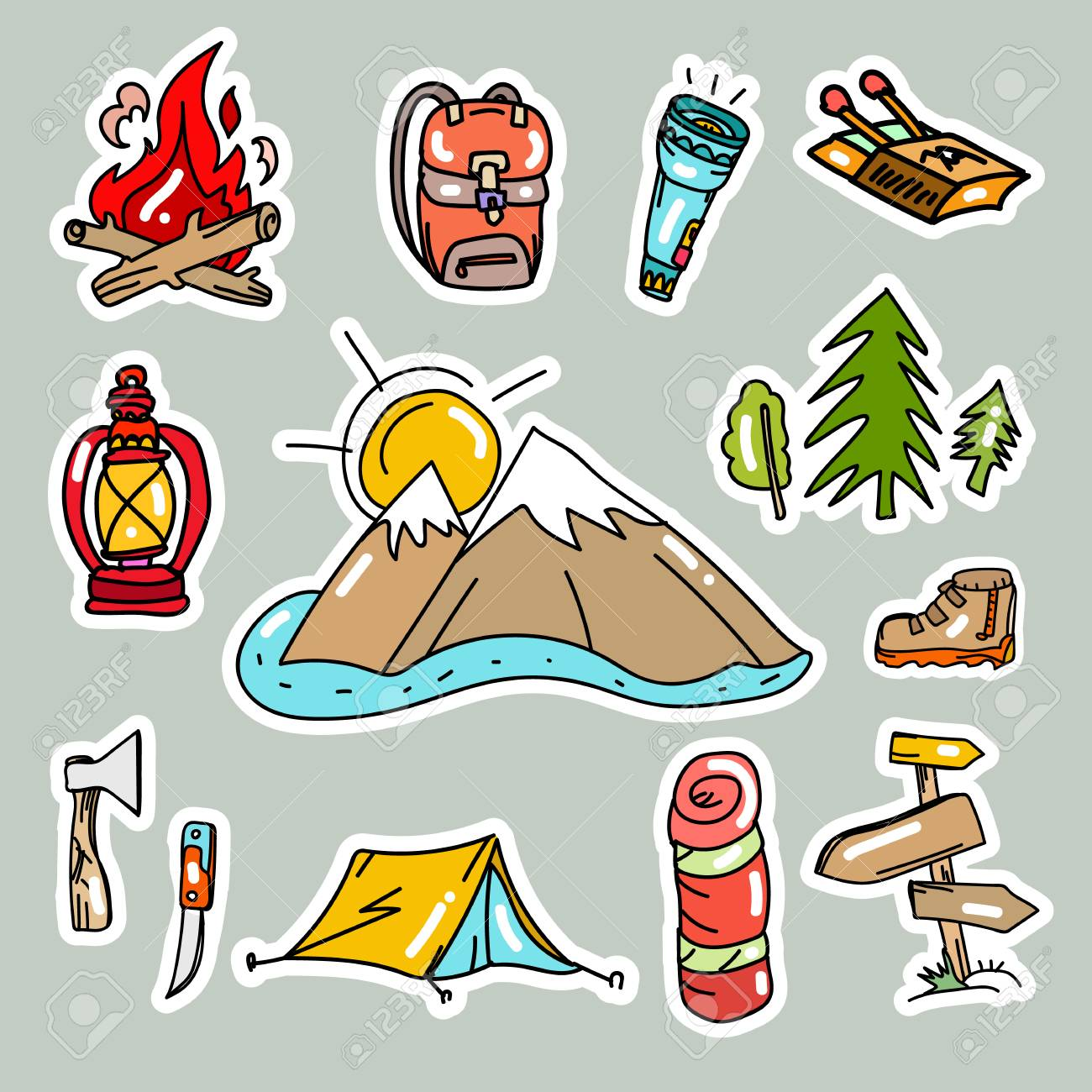 Camping stickers pop art style tourism equipment symbols and icons mountains tent