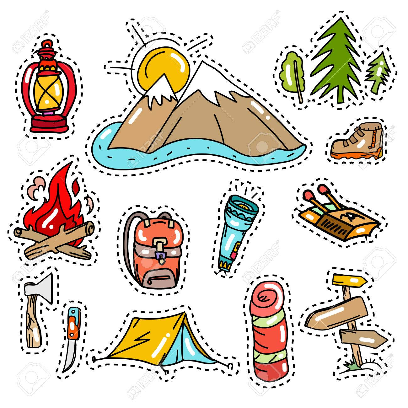 Camping vector elements camping stickers pop art style tourism equipment symbols and icons