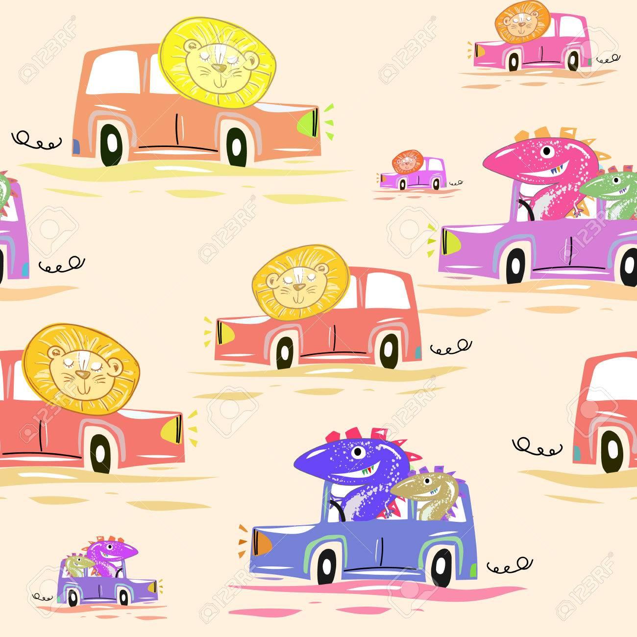 かわいい車のシームレスなパターン。面白いライオンや恐竜ドライブ車子供
