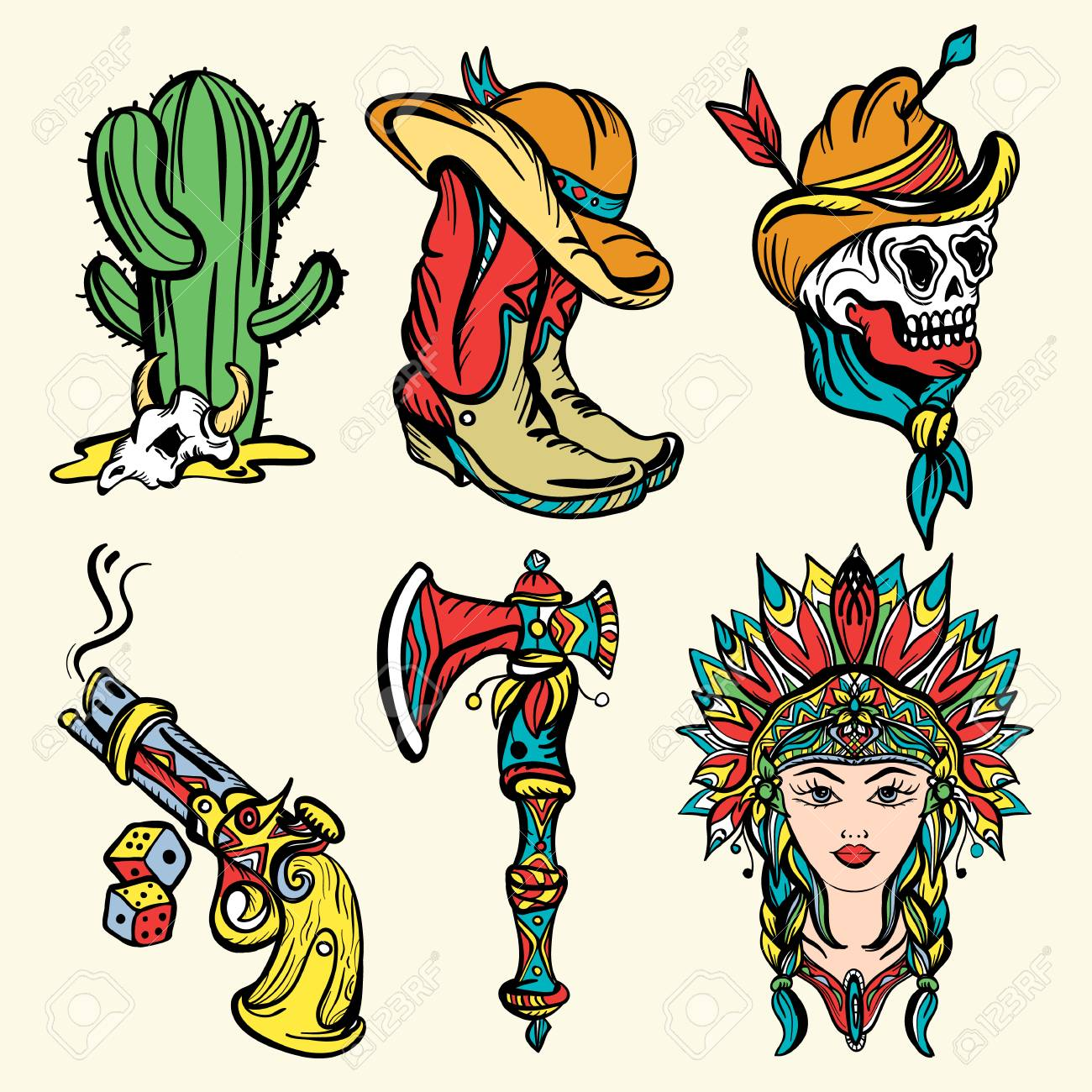 590bc0706887c Wild west old school tattoo vector. Fashionable western set. Cowboy,  cactus, indian