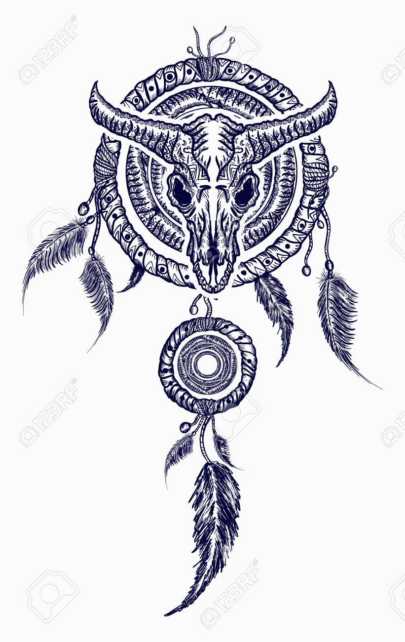 95a3d7d9a Bison skull and indian dream catcher tattoo. Tribal art. Native american  culture. Wild