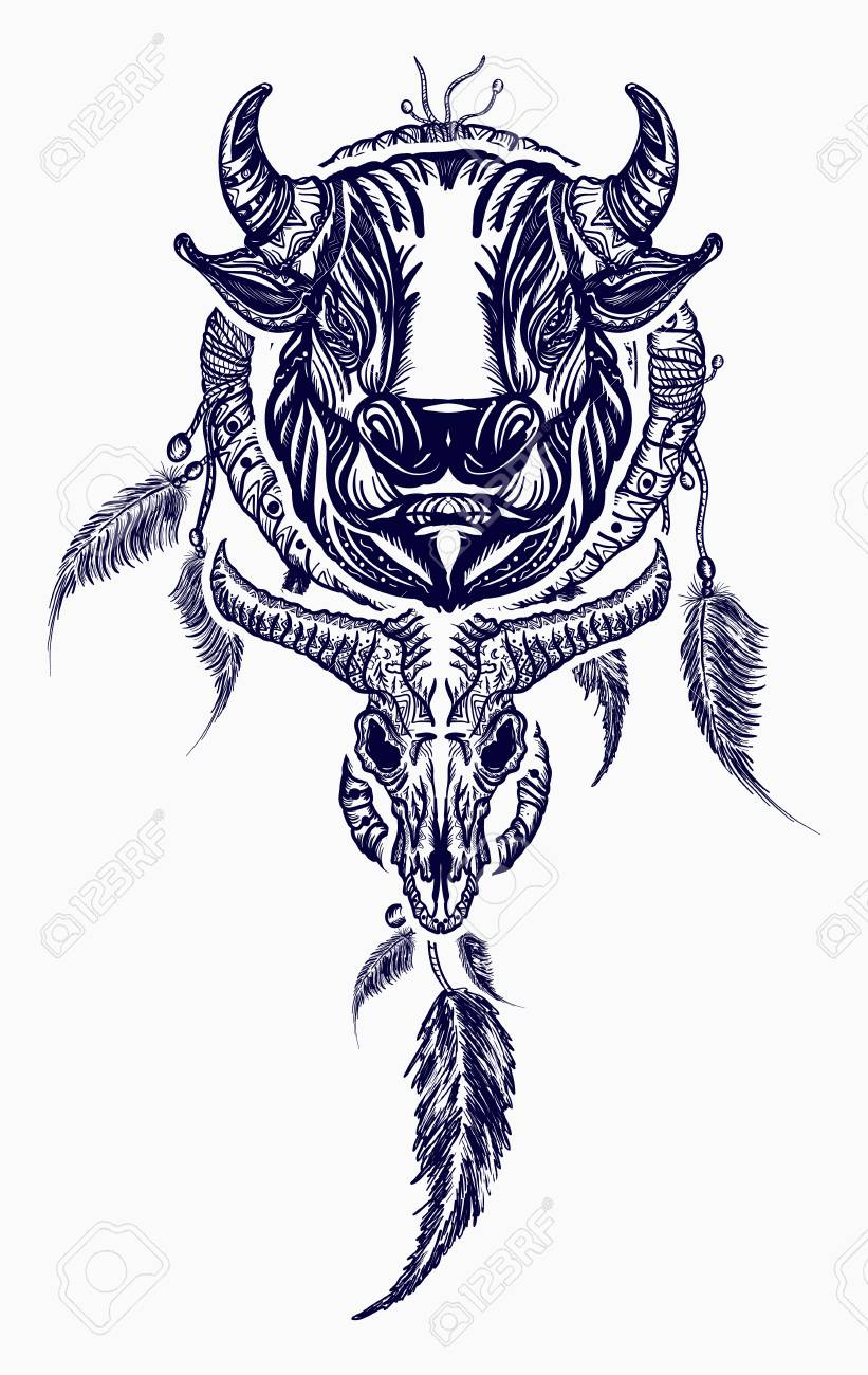 0ca16988e Tribal bull and dreamcatcher tattoo art. Indian dream catcher with ethnic  ornaments and ethnic bull