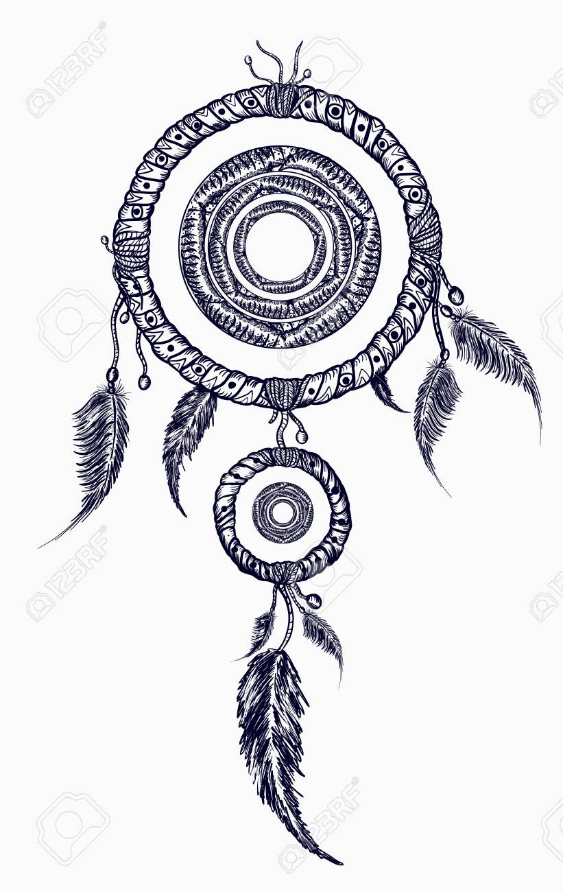 74fbb7569 Dream catcher with feathers tattoo. Boho native american style t-shirt  design. Indian