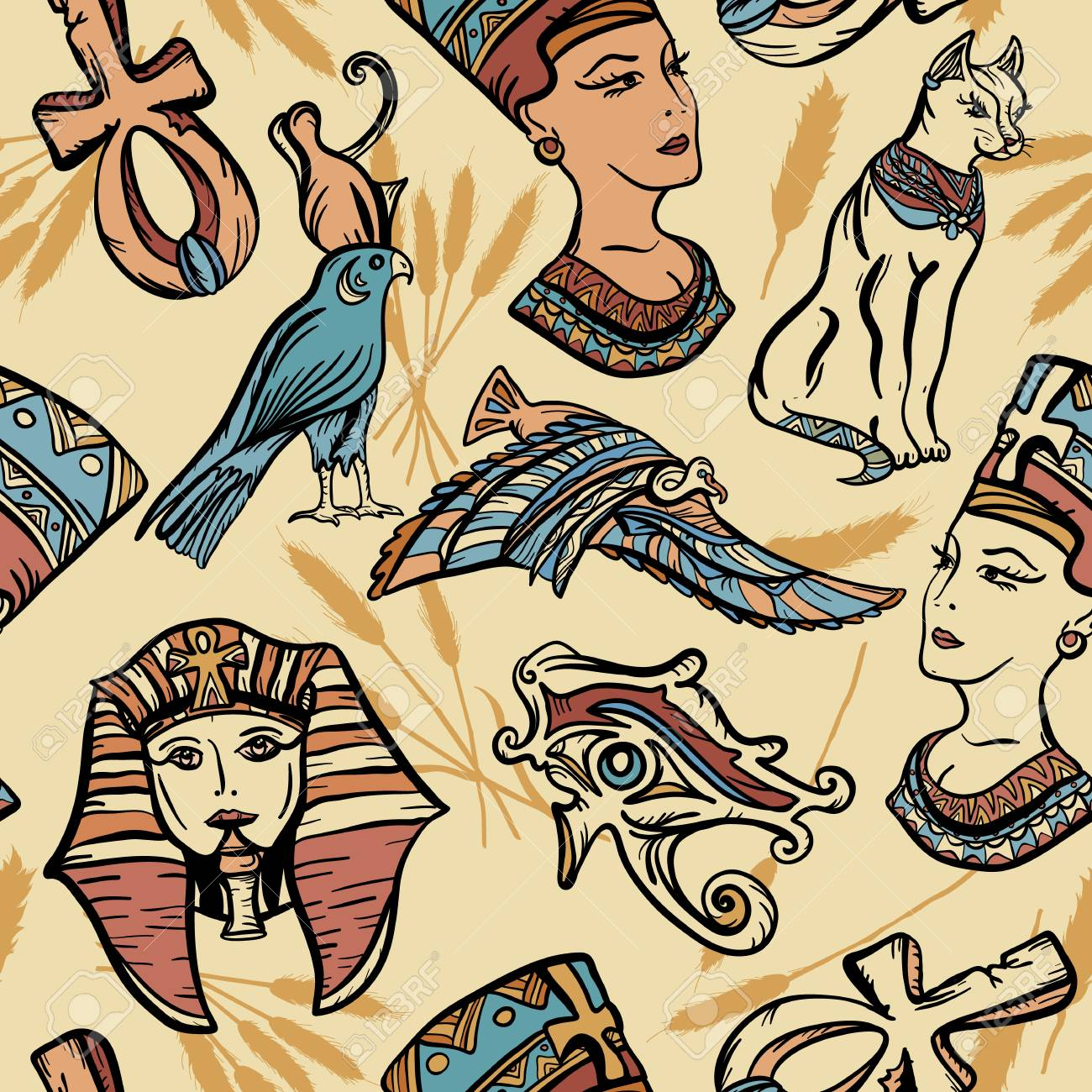Ancient Egypt Vintage Seamless Pattern Old School Tattoo Pharaoh
