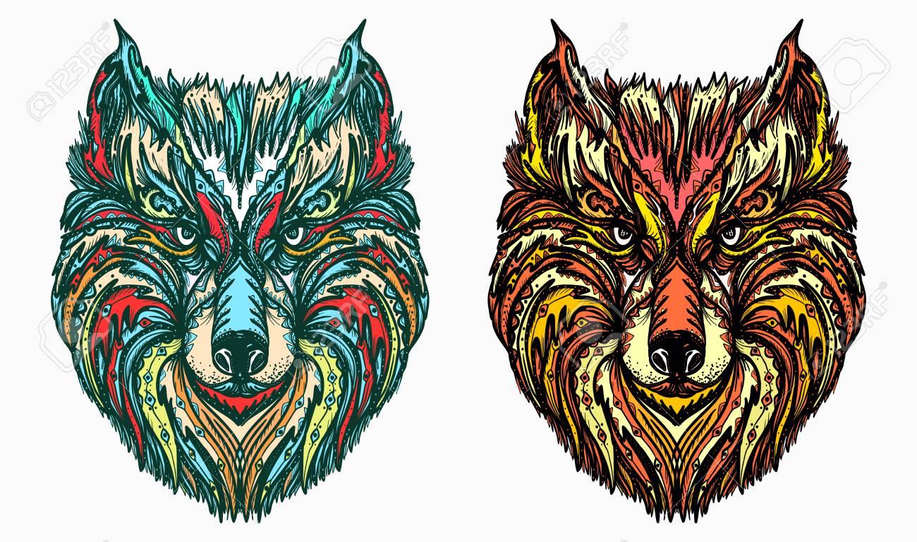 Diseño De Tatuaje Y Camiseta De Cabeza De Lobo Ornamental Lobo