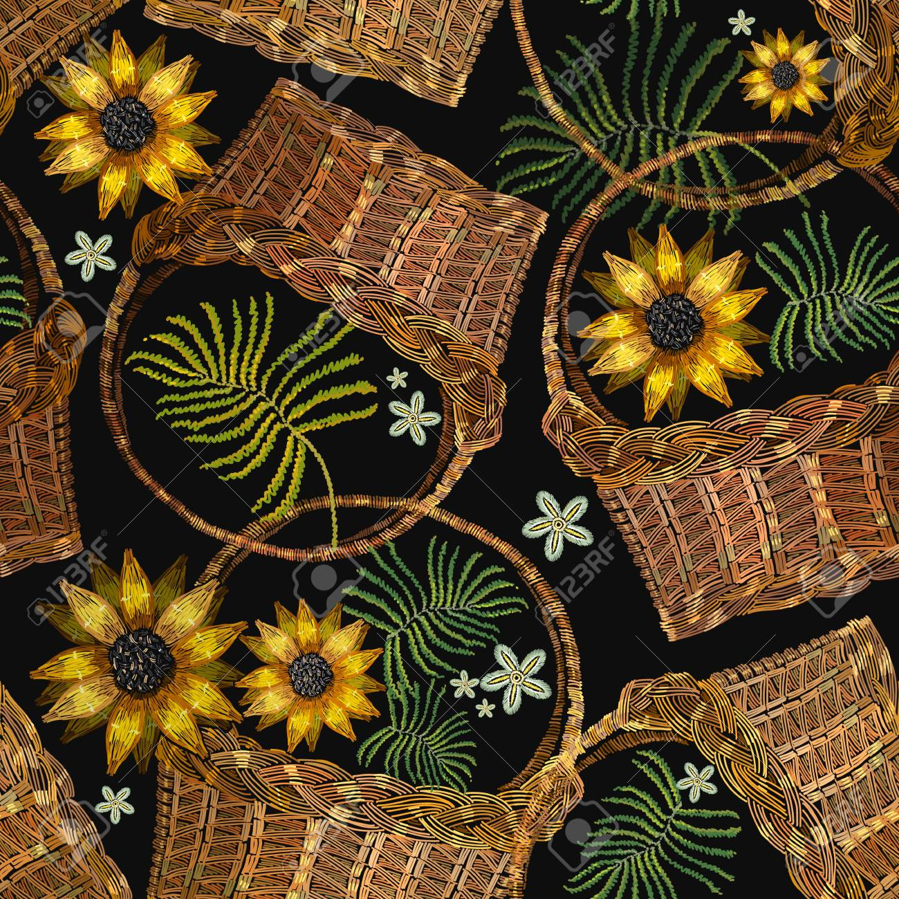 Embroidery Wicker Baskets And Sunflowers. Garden Background ...