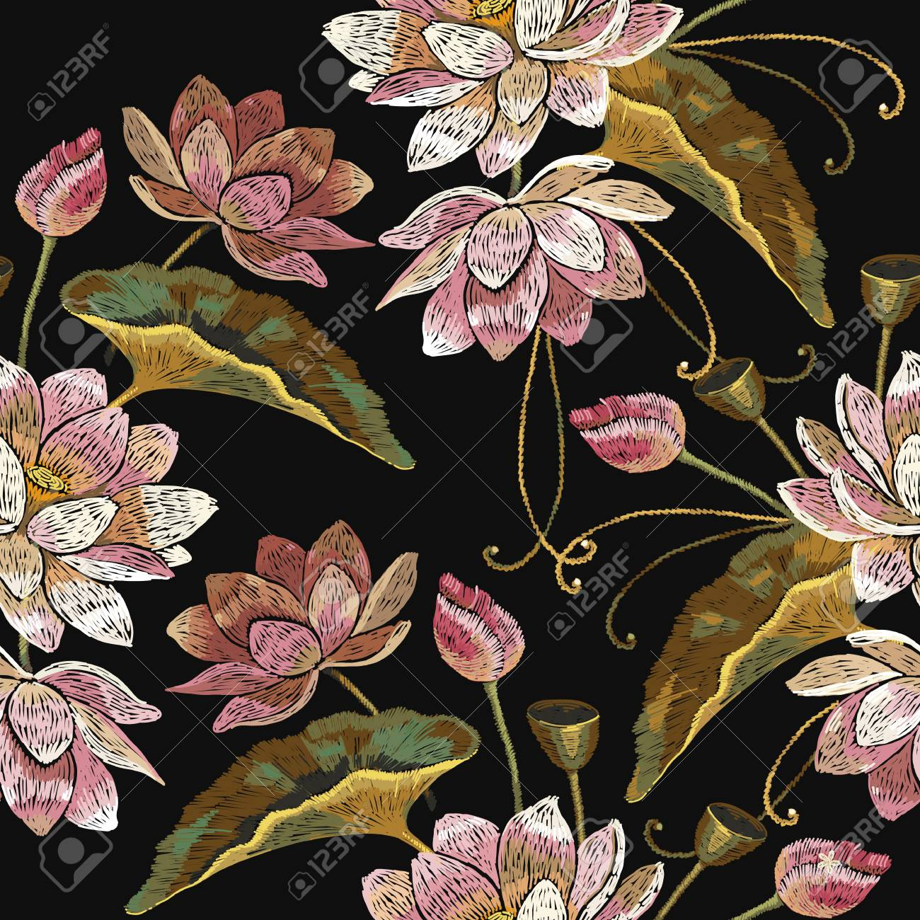 Embroidery Lotus Flowers Seamless Pattern Classical Embroidery