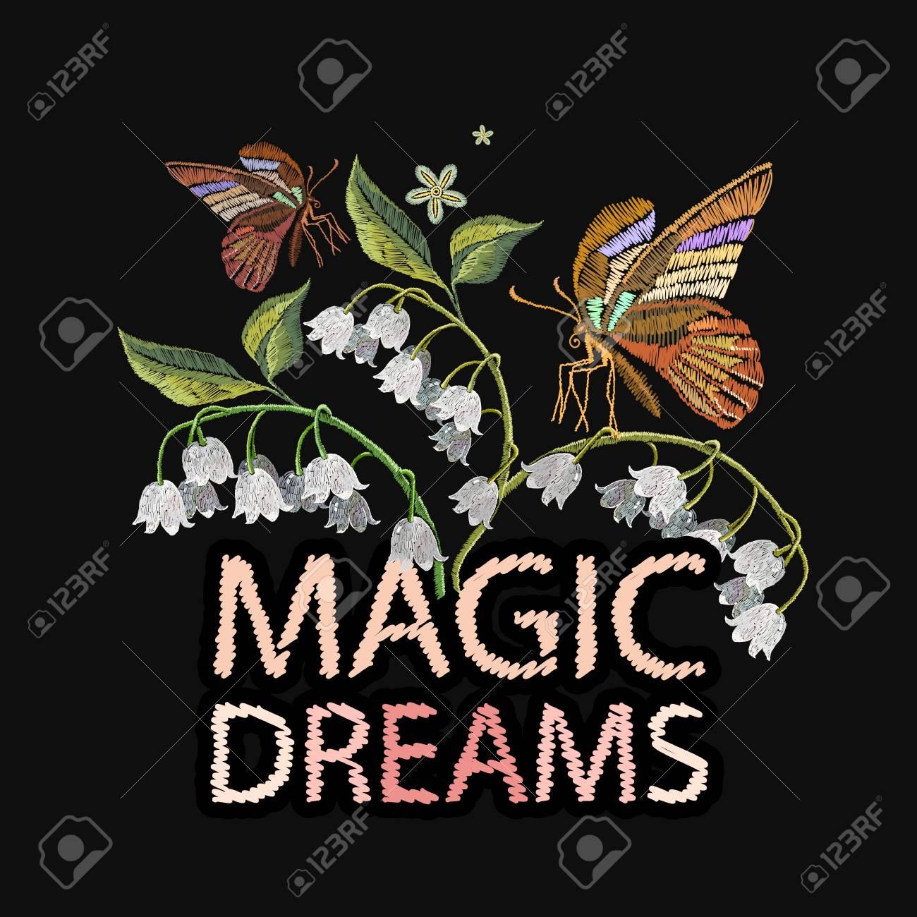 Bordado De Flores Blancas Y Mariposas Lema De Los Suenos Magicos