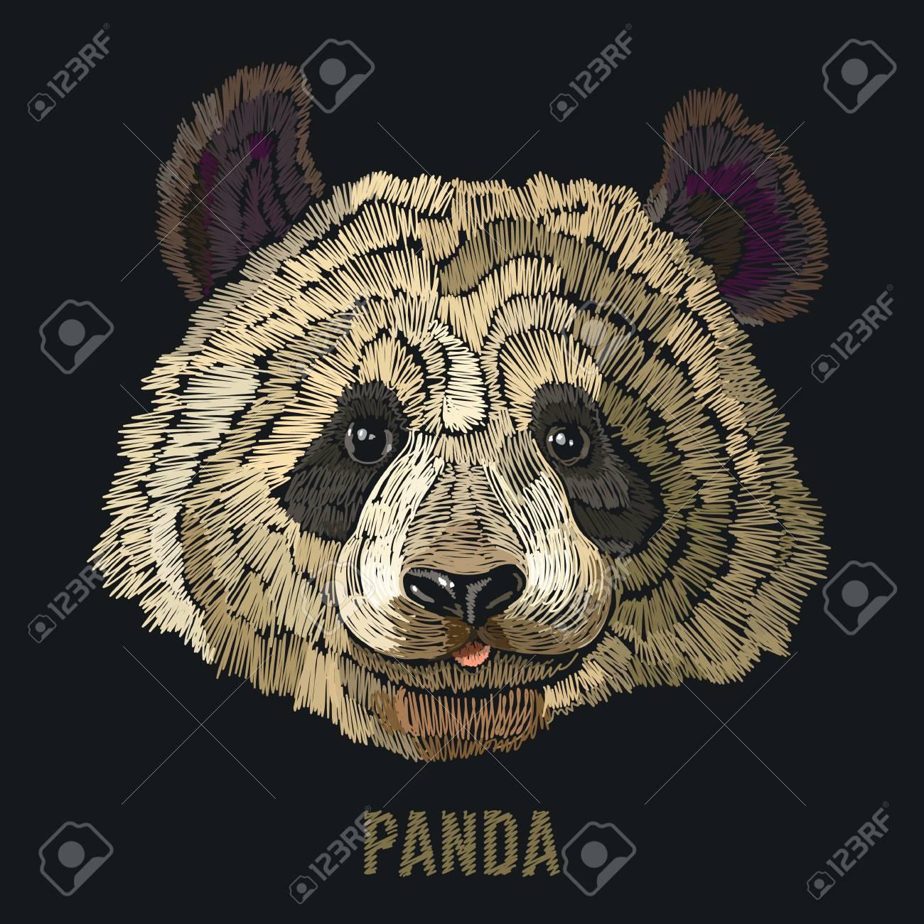 Bordado De Panda Plantilla De Moda Para Ropa, Textiles, Diseño De ...