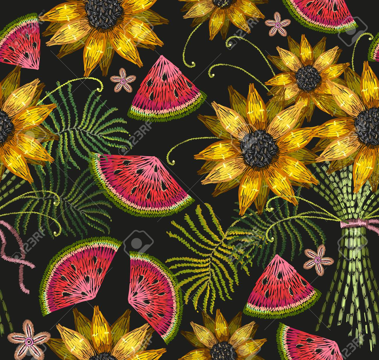 Embroidery Sunflowers And Watermelon Seamless Pattern Classical Bouquet Of Tropical Flowers