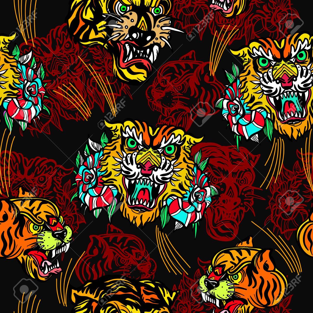 Tigers Seamless Pattern Old School Tattoo Vector Classic Flash