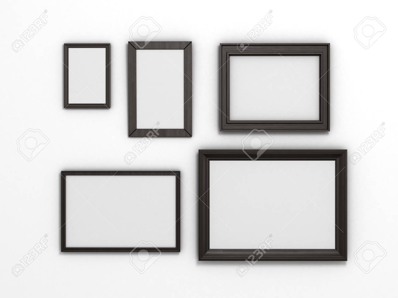 Set Of Black Frames Of Different Sizes On A White Background Stock ...