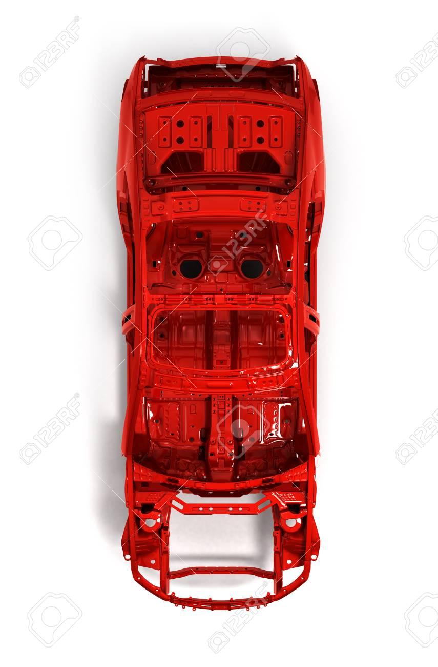 Red Back Body Auto Ohne Rad Auf Weißem 3D-Darstellung Isoliert ...
