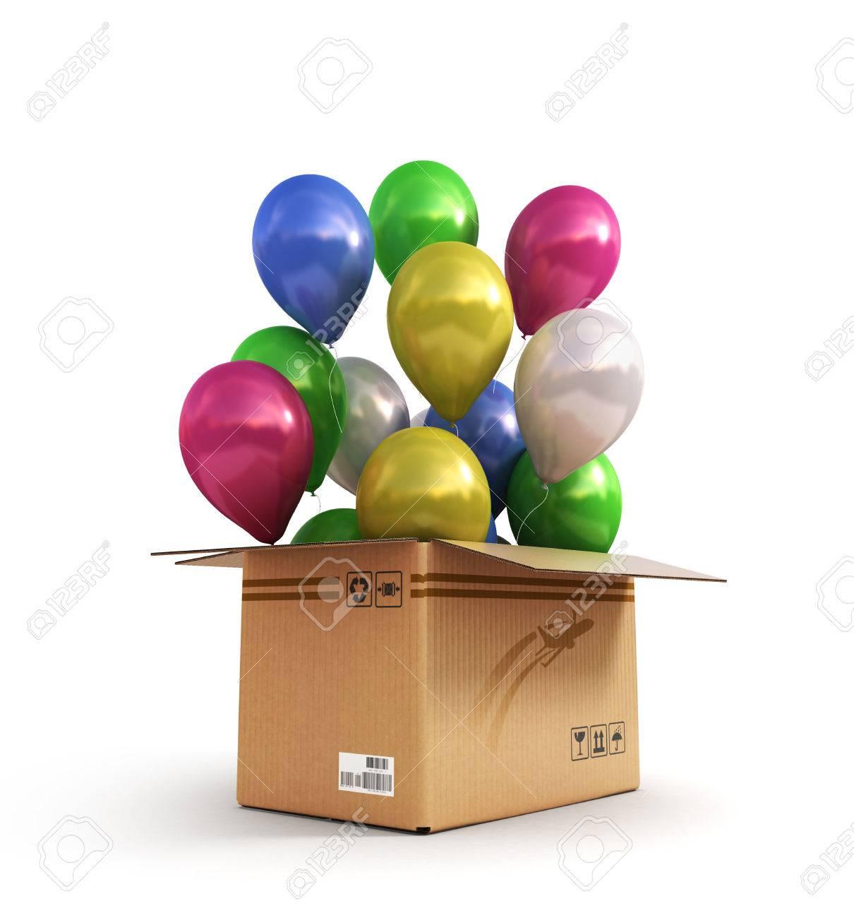 Bolas De Colores En Una Caja De Cartón Para Envíos Aislados Sobre