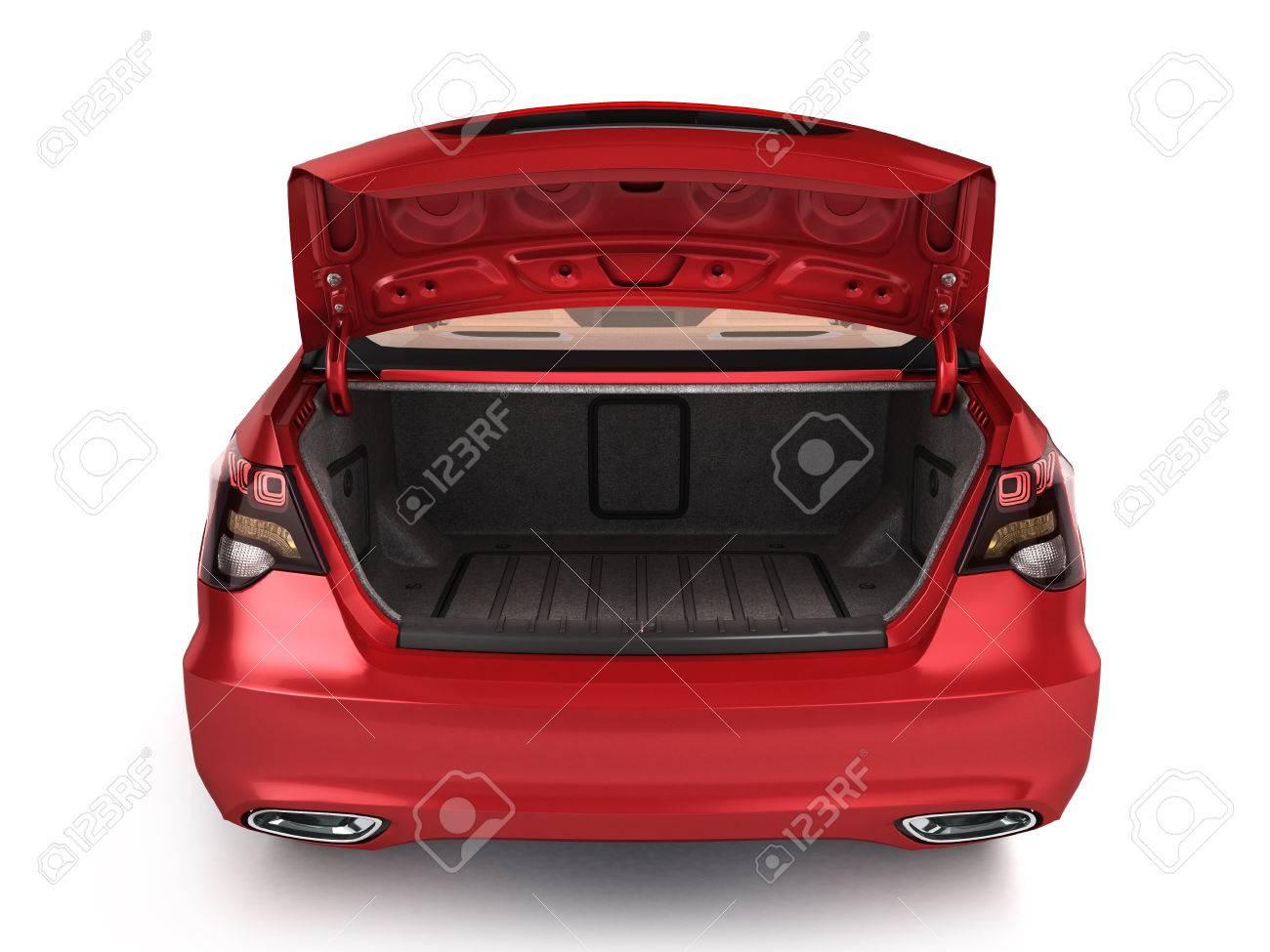 empty open trunk of a car 3d render - 65580785