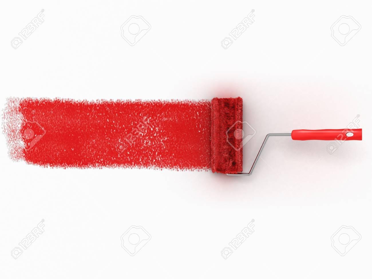 Cepillo De Rodillos Con Maqueta De Pintura Roja Herramienta Creativa Decorativa Y De Renovación