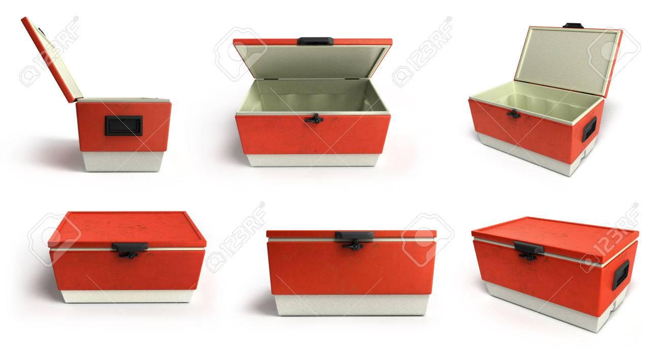 Kühlschrank In Rot : Sammlung von strand kühlschrank kühler rot d render auf einem