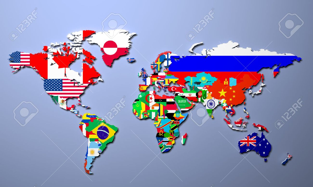 The world map with all states and their flags 3d illustration stock illustration the world map with all states and their flags 3d illustration gumiabroncs Images
