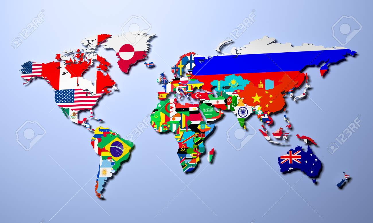 The world map with all states and their flags 3d render stock photo stock photo the world map with all states and their flags 3d render gumiabroncs Choice Image