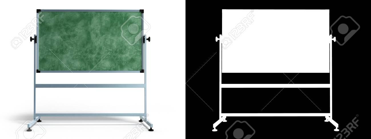 Green Chalkboard With Metal Frame 3d Render On White With Alpha ...