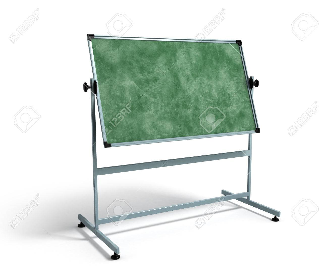 Green Chalkboard With Metal Frame 3d Render On White Stock Photo ...