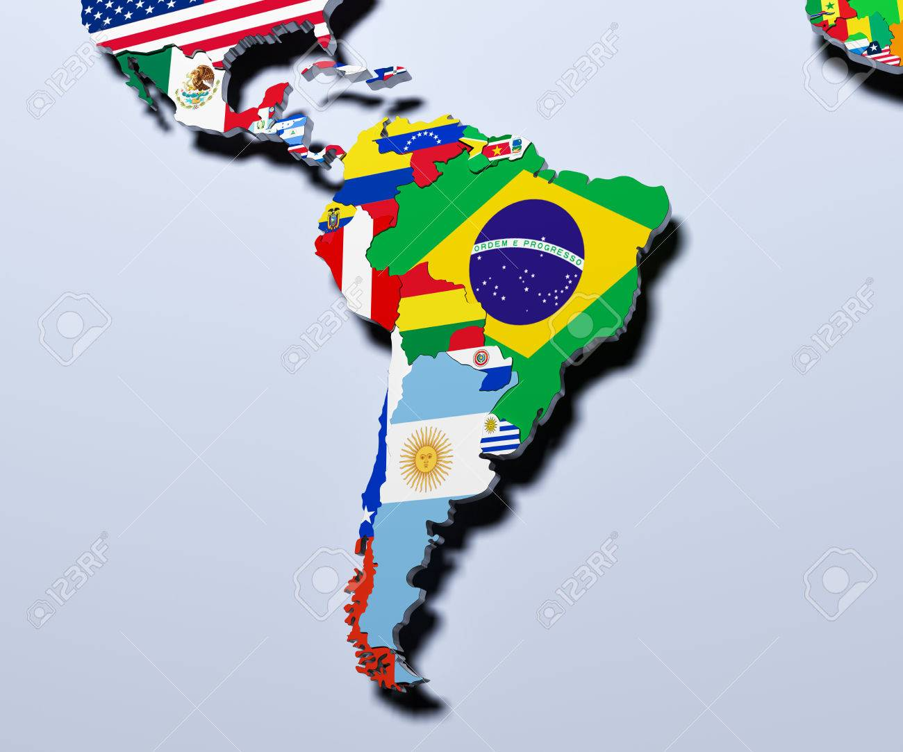 South America Map 3d Illustration Stock Photo Picture And Royalty