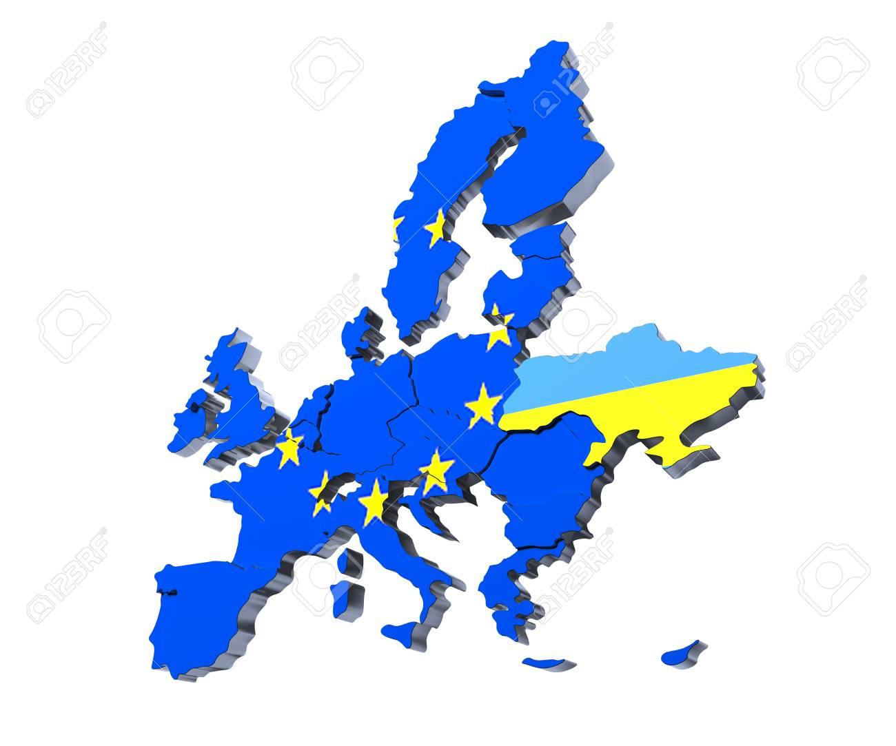 欧州連合の政治地図 3 D レンダ...