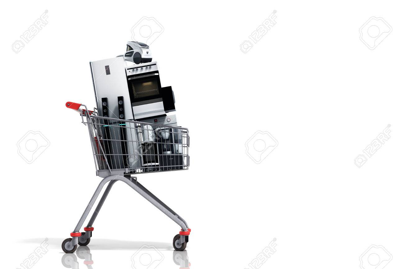 Home appliances in the shopping cart E-commerce or online shopping concept 3d render - 71744824