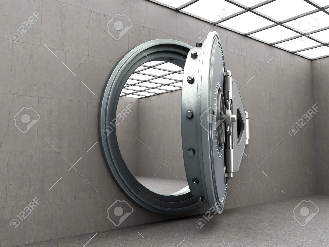 Big safe door with empty ingots High resolution 3D image