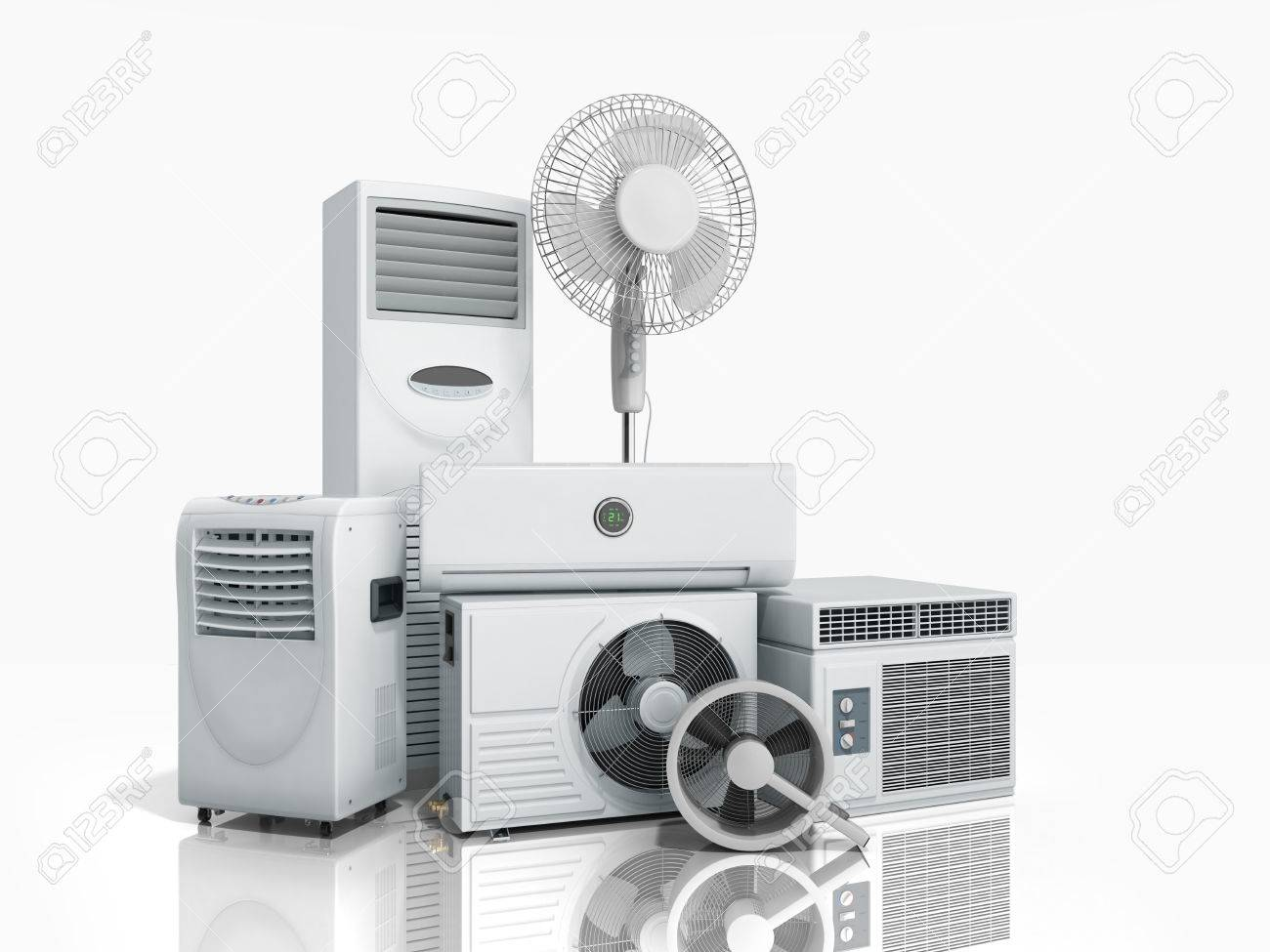 air conditioning equipment 3d rensder on white background stock
