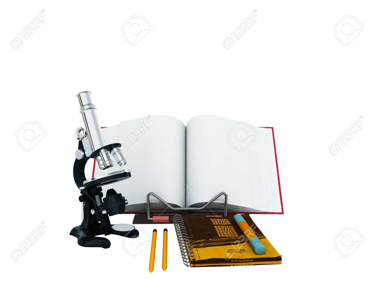 Konzept der schule und bildung biologie mikroskop notebook d