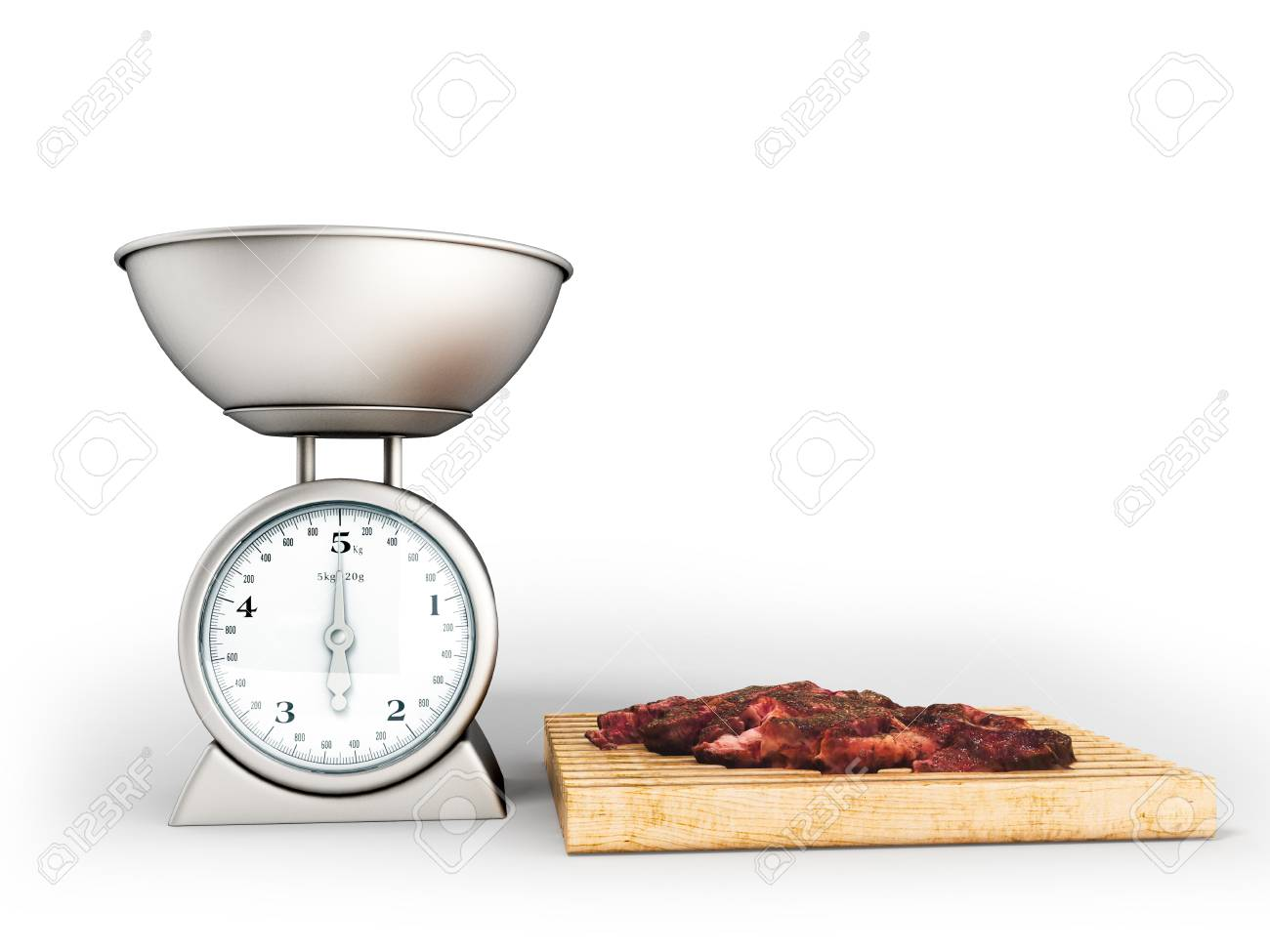 Kitchen Scales Cutting Board With Meat 3d Rendering On White.. Stock ...