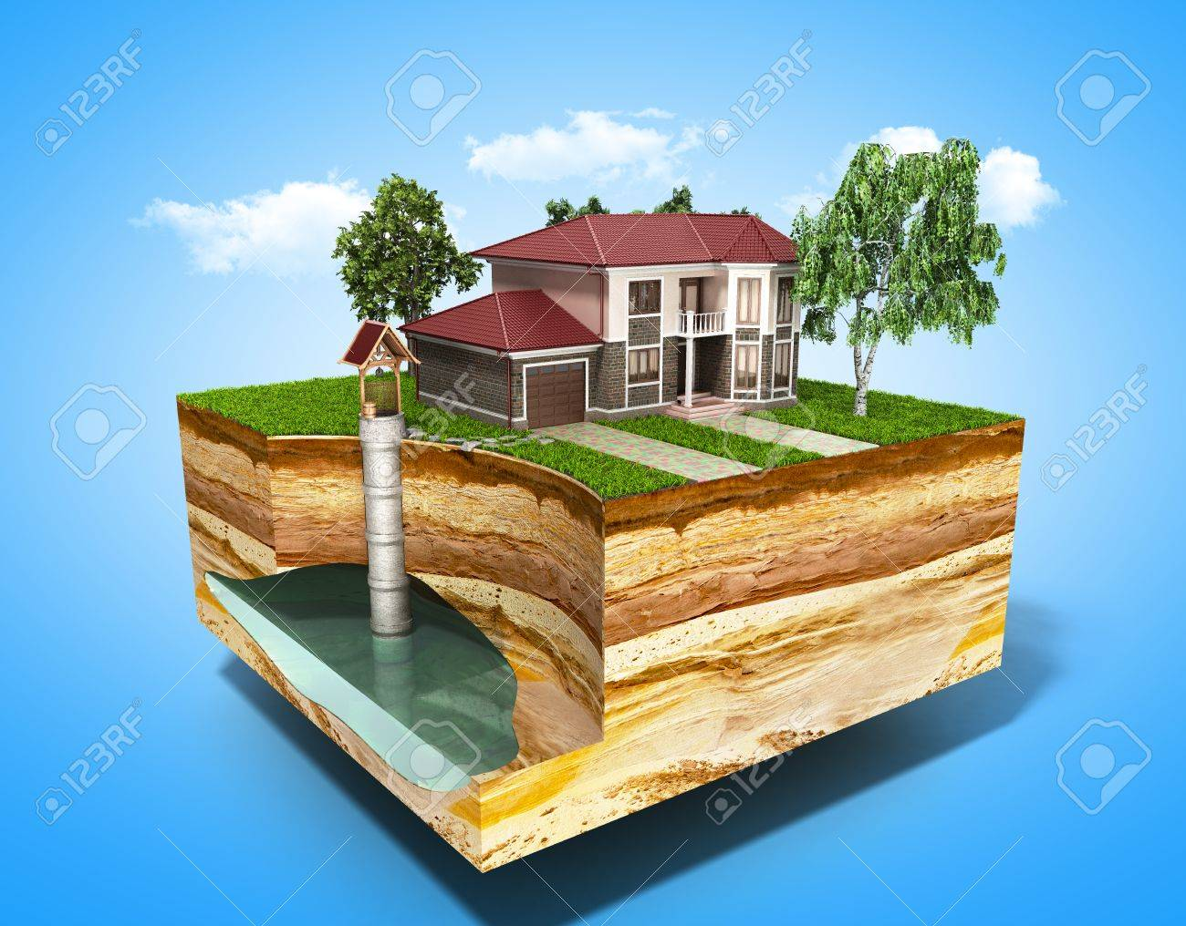 water well system The image depicts an underground aquifer 3d render on blue - 87468225
