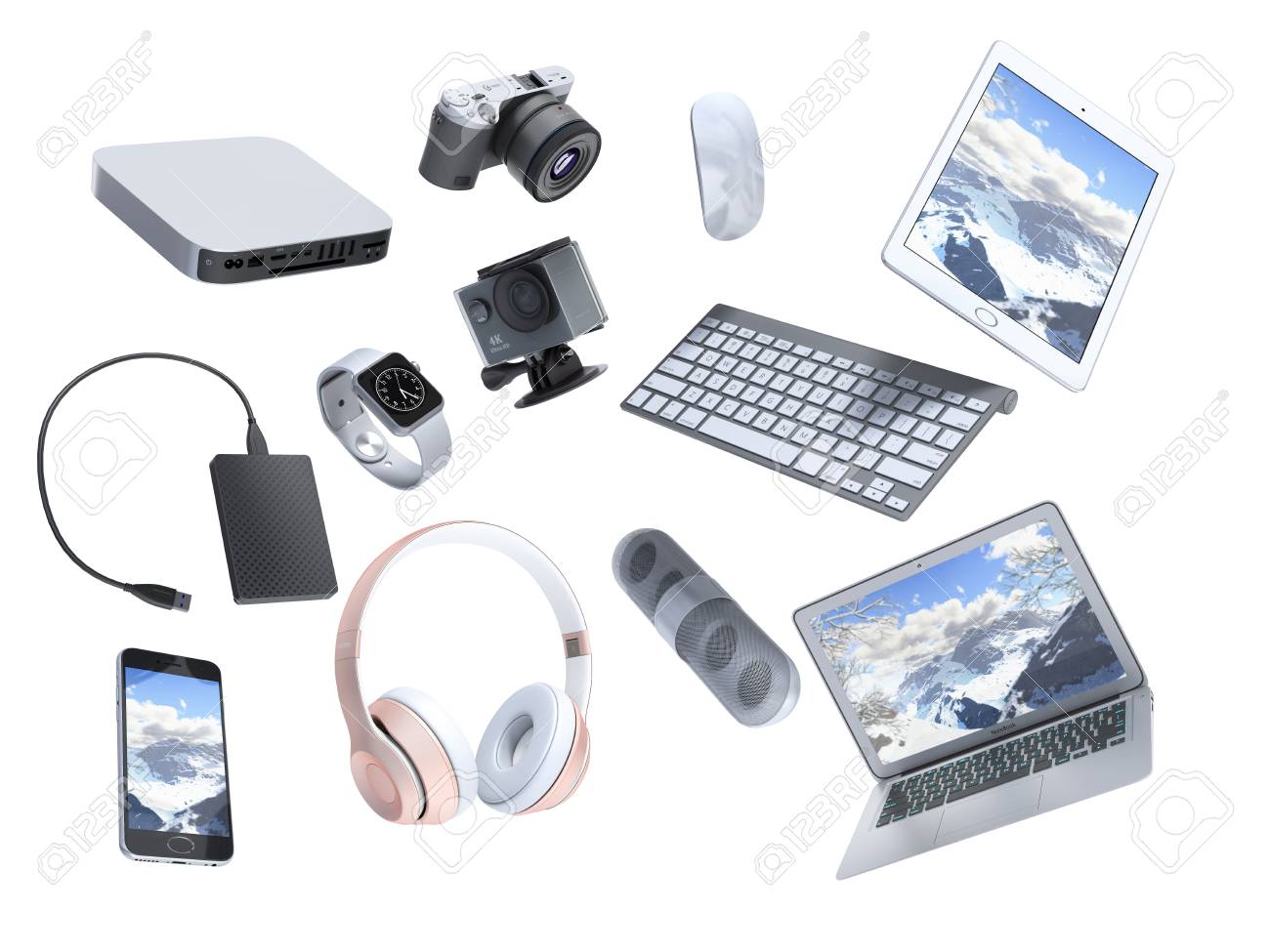 collection of consumer electronics flying in the air 3D render on white background - 88191655