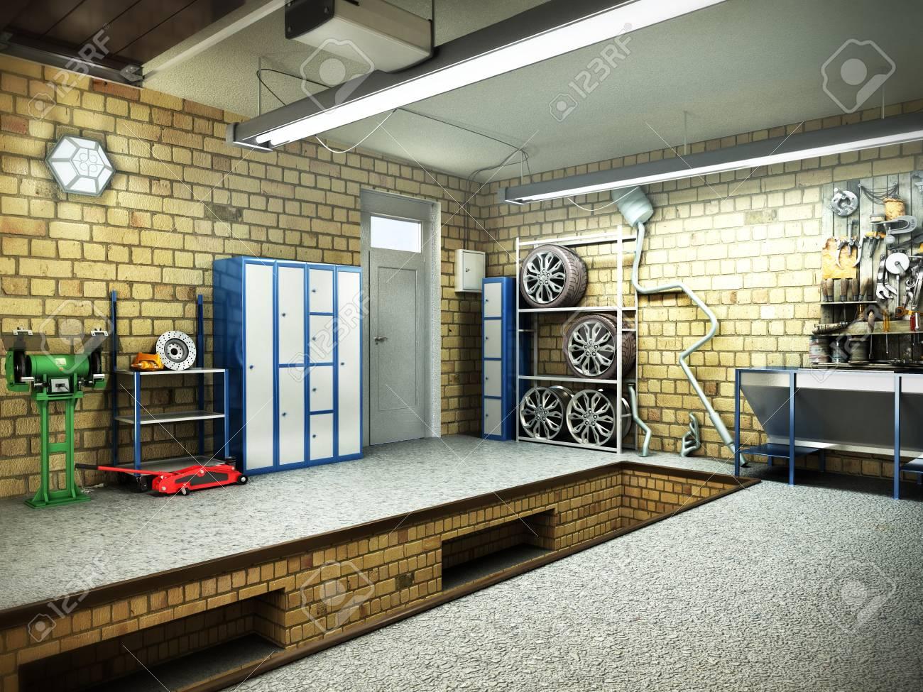 banque dimages vue dun intrieur 3d de garage avec le rendu 3d ouvert de porte de rouleau