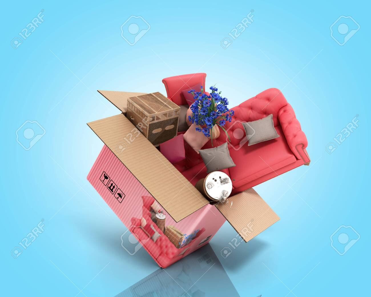 Concept Of Product Categories Furniture And Decor Fly Out Of.. Stock Photo,  Picture And Royalty Free Image. Image 127798334.