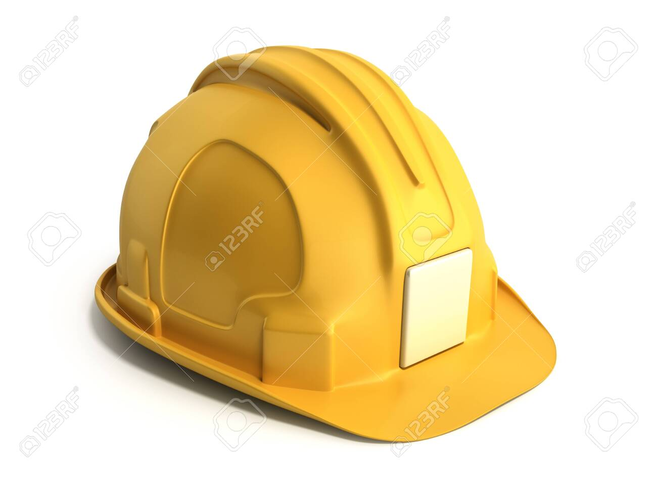 Hard hat background Construction tools 3d render on white - 123485391