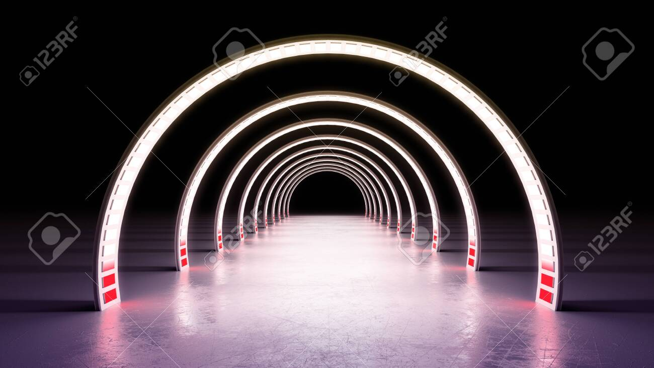 abstract minimal background white glowing cyrcle lines tunnel neon lights 3d render - 128580873
