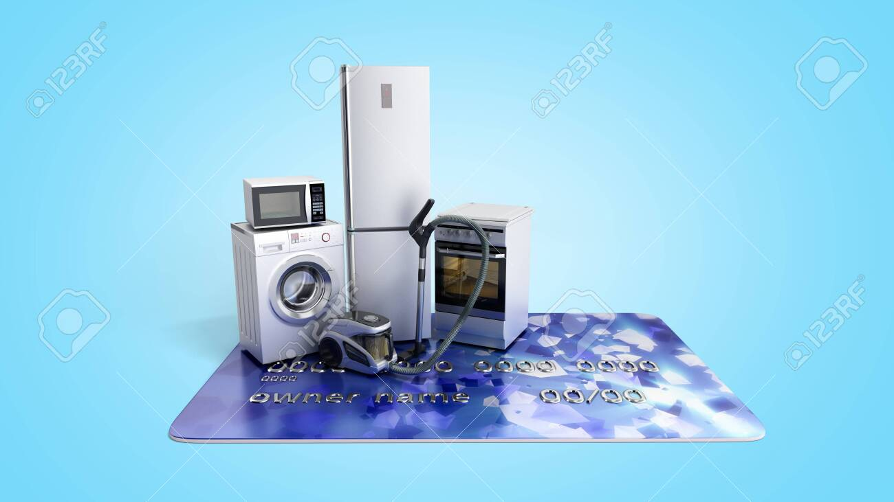 Home appliances on credit card E-commerce or online shopping
