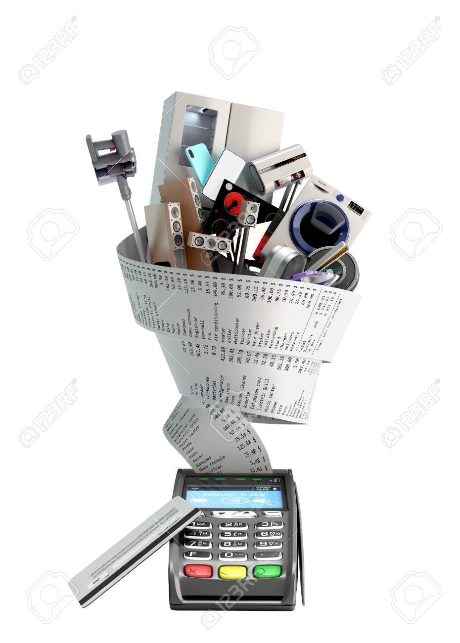 concept of online ordering of home appliances the technique is wrapped in a check coming from the card terminal 3d render on white no shadow - 153212746