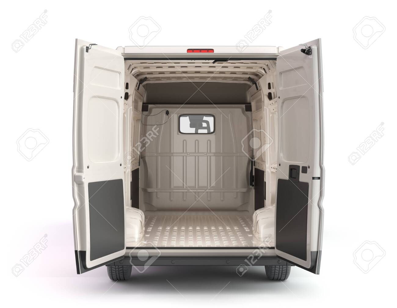 Open back of White Delivery Van Icon 3d render on white - 154794296