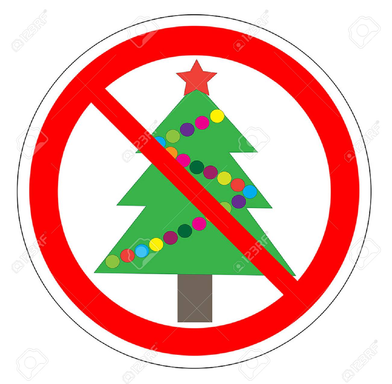 Illustration Of A Forbidden Signal With A Christmas Tree. No ...