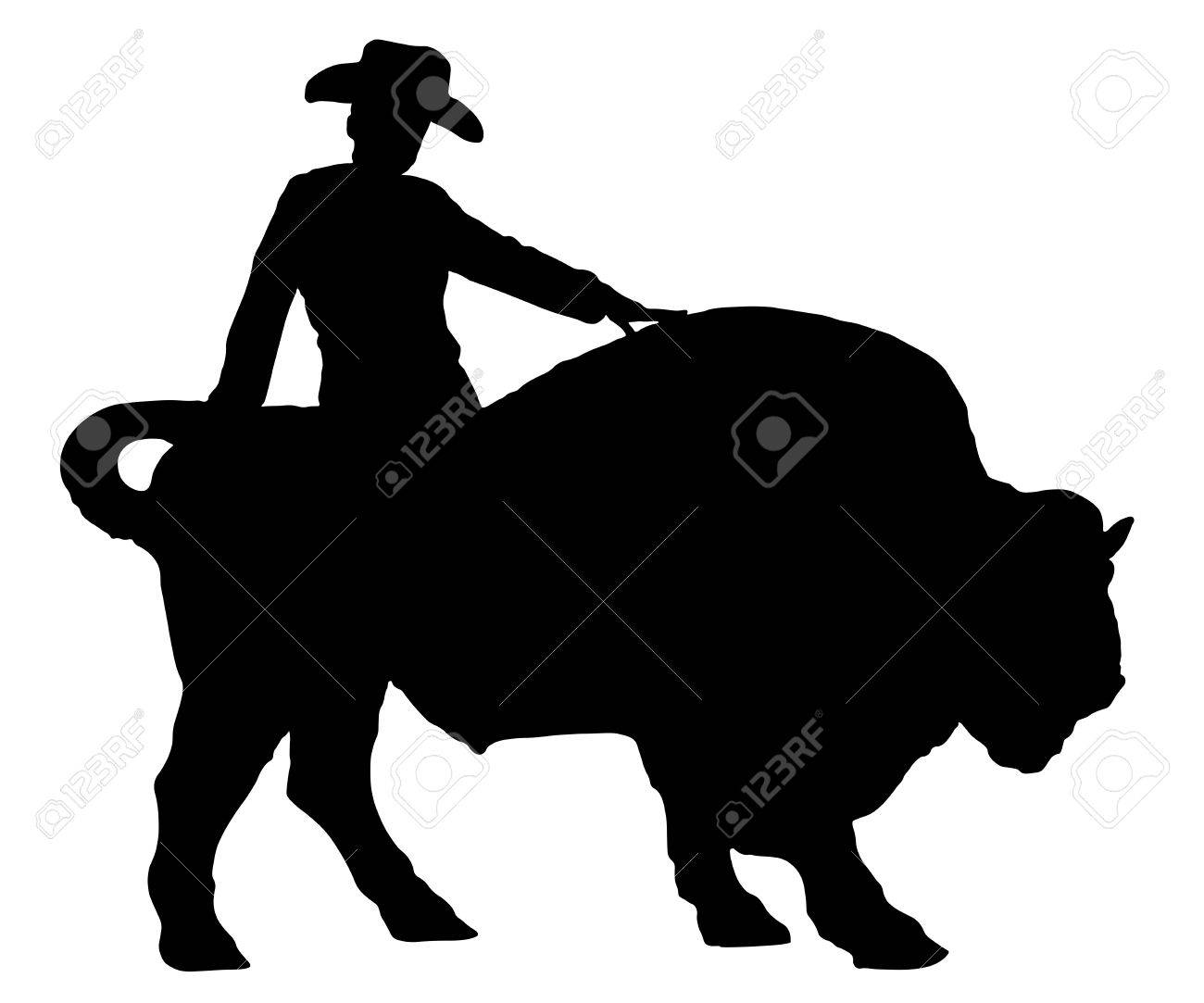 4a1b6c36 Rodeo man on a buffalo, bison, bull, silhouette