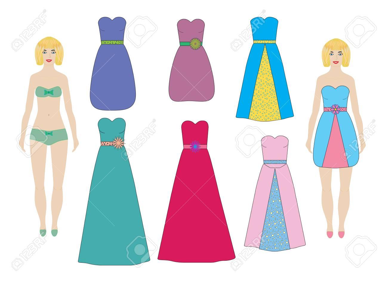 Vestidos De Noche Y Cóctel Para Muñecas De Papel Niña Mujer Vector