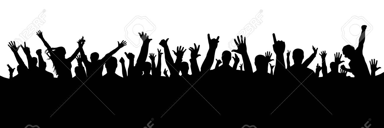 hand crowd silhouette vector illustration royalty free cliparts rh 123rf com crowd vector background crowd vector hd