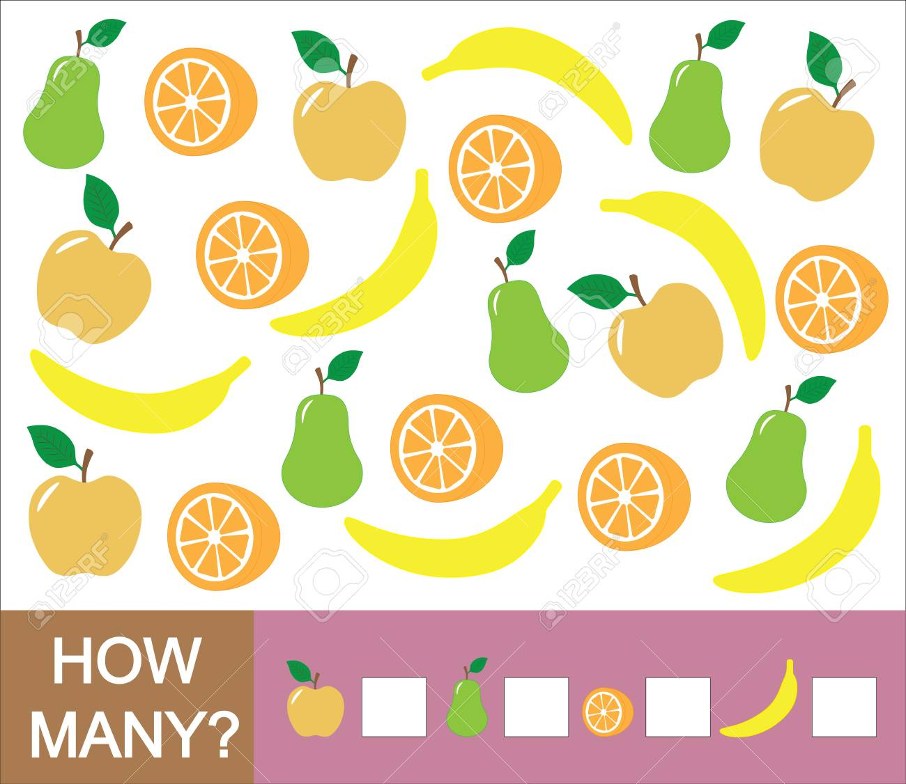 Counting educational game for children. How many fruits (apple, pear, orange, banana). Learning numbers, mathematics. - 91803246